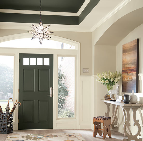 Match your front door and ceiling to bring a touch of color into your neutral space and create an eye-catching accent in your entryway.