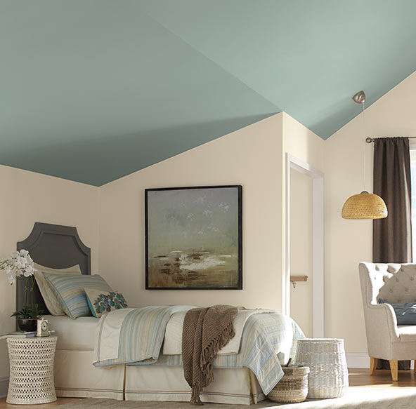 Pick up a subtle hue from your accessories in the room and turn your bedroom ceiling into a stunning accent wall.