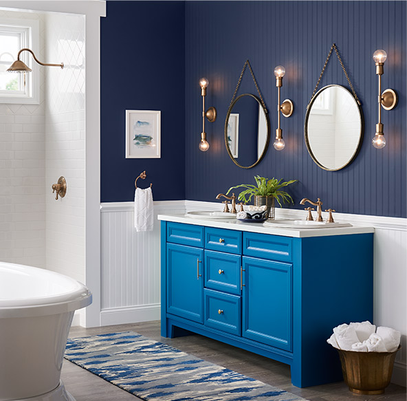 Blue in particular provokes feelings of comfort and rest and is a popular choice for bathrooms.