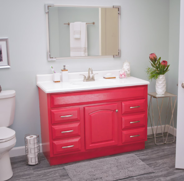 Modernize your vanity with a trending color to make your mirror – and your beautiful reflection – stand out.
