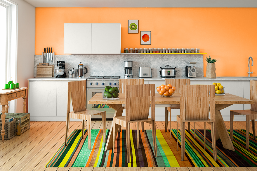 Brightly colored kitchen