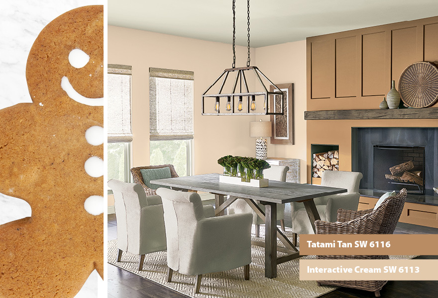 Dining room inspired by gingerbread men featuring Tatami Tan SW 6116 and Interactive Cream SW 6113.