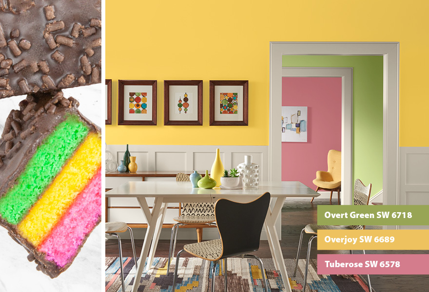 Dining room inspired by Italian rainbow cakes featuring Overt Green SW 6718, Overjoy SW 6689 and Tuberose SW 6578