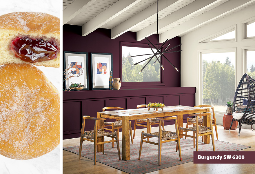 Dining room inspired by jelly donuts featuring Burgundy SW 6300.