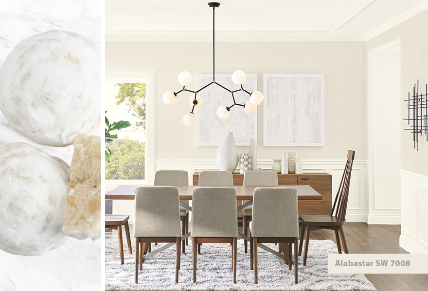 Dining room inspired by Russian tea cakes featuring Alabaster SW 7008.